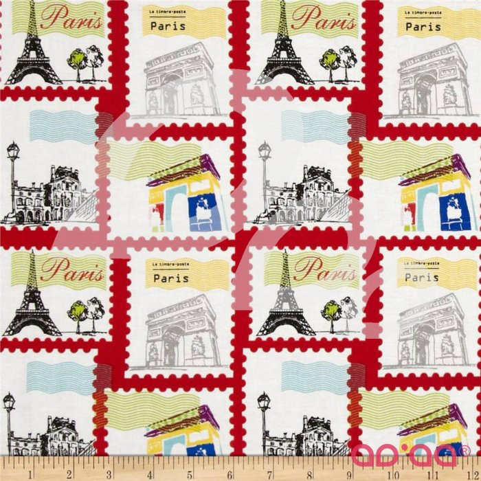 Riley Blake Pepe in Paris Stamp Red
