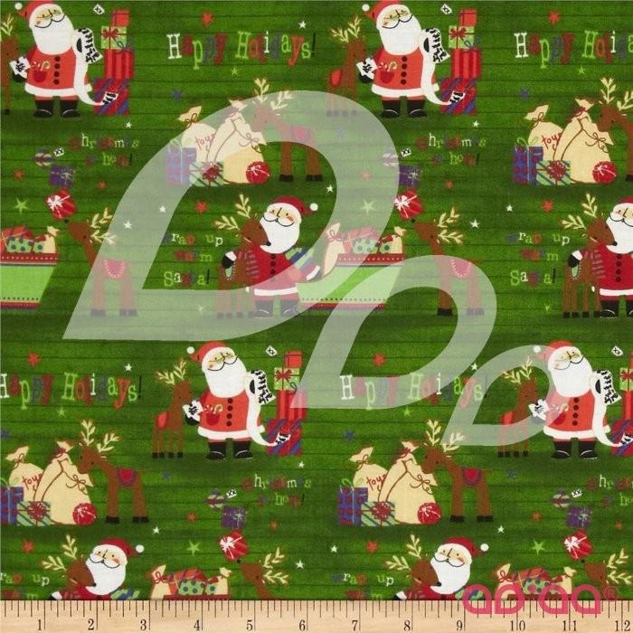 Seasons Greetings Santa & Reindeer Green