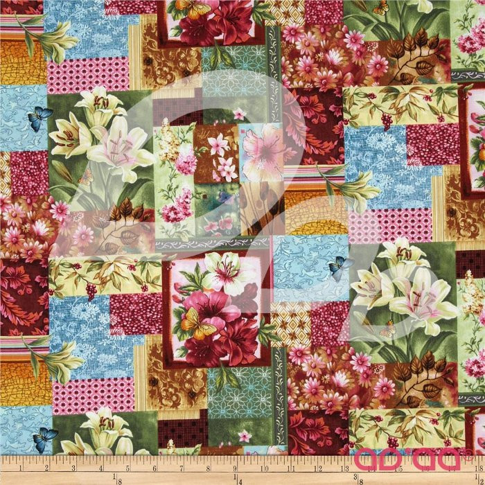 Flower Shop Floral Patchwork Scarlet