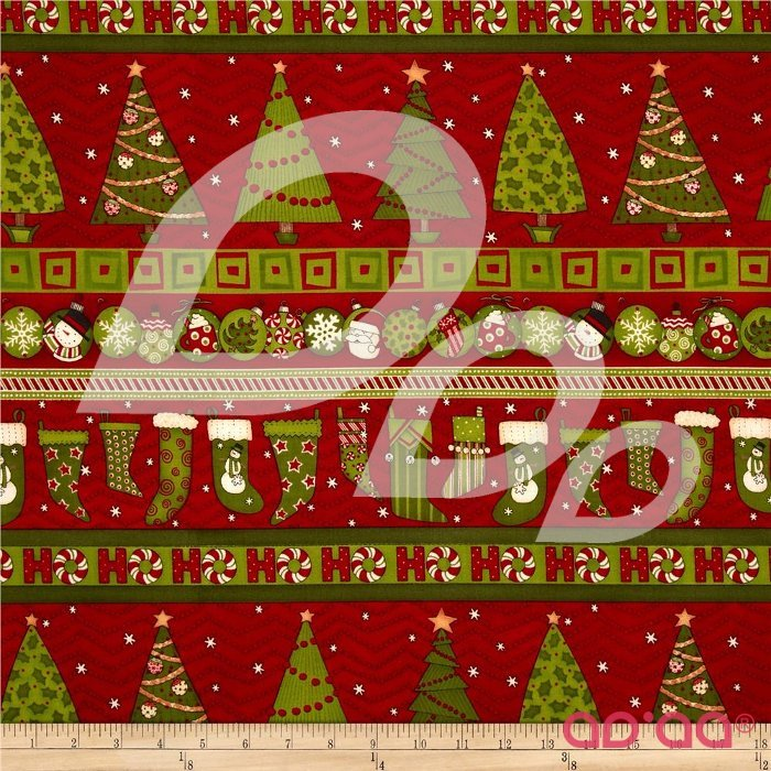 Ho Ho Holiday Christmas Repeating Stripe Red/Green