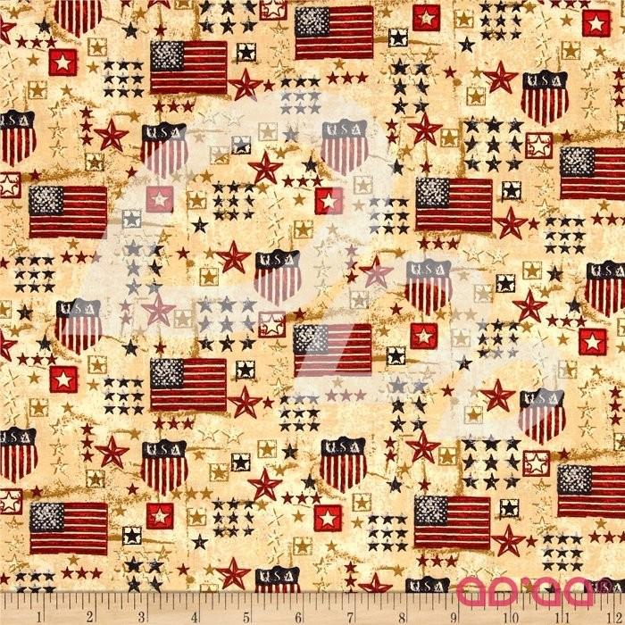 Stars & Stripes II USA Flags & Stars Red/Gold/Blue