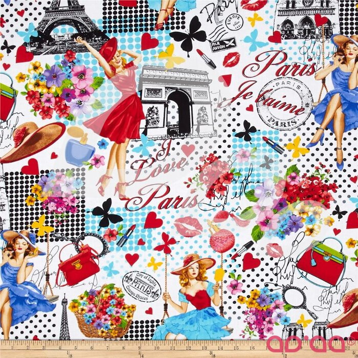 Timeless Treasures Ooh La La Paris Collage White