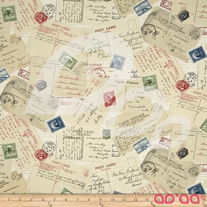 Vintage Travel Postcards Cream