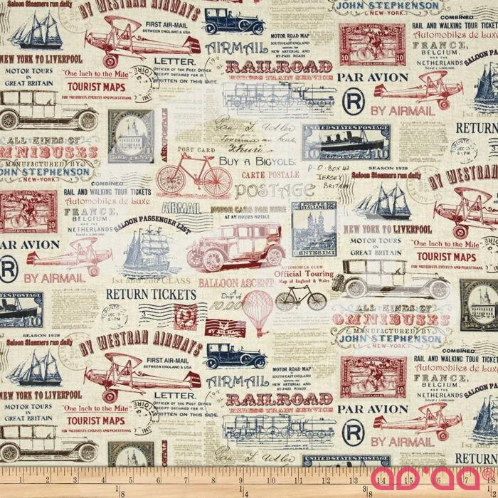 Vintage Travel Newspaper Cream