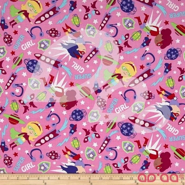 Timeless Treasures Girl Superheroes Metallic Pink