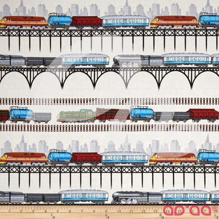 Timeless Treasures City Train Stripe Cream