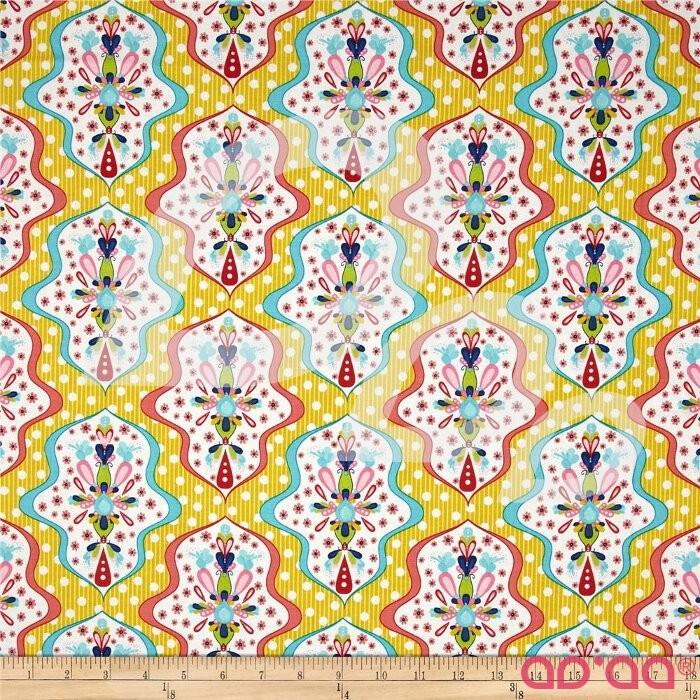 Riley Blake Floriography Damask Yellow
