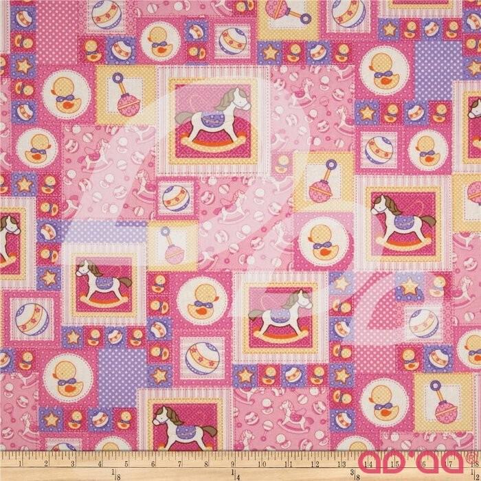 Baby Talk Rocking Horses/Ducks Patchwork Pink