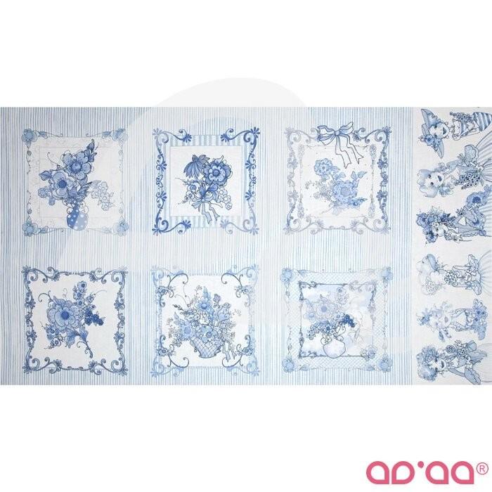 Flora Bleu Pictures Border Patches Blue