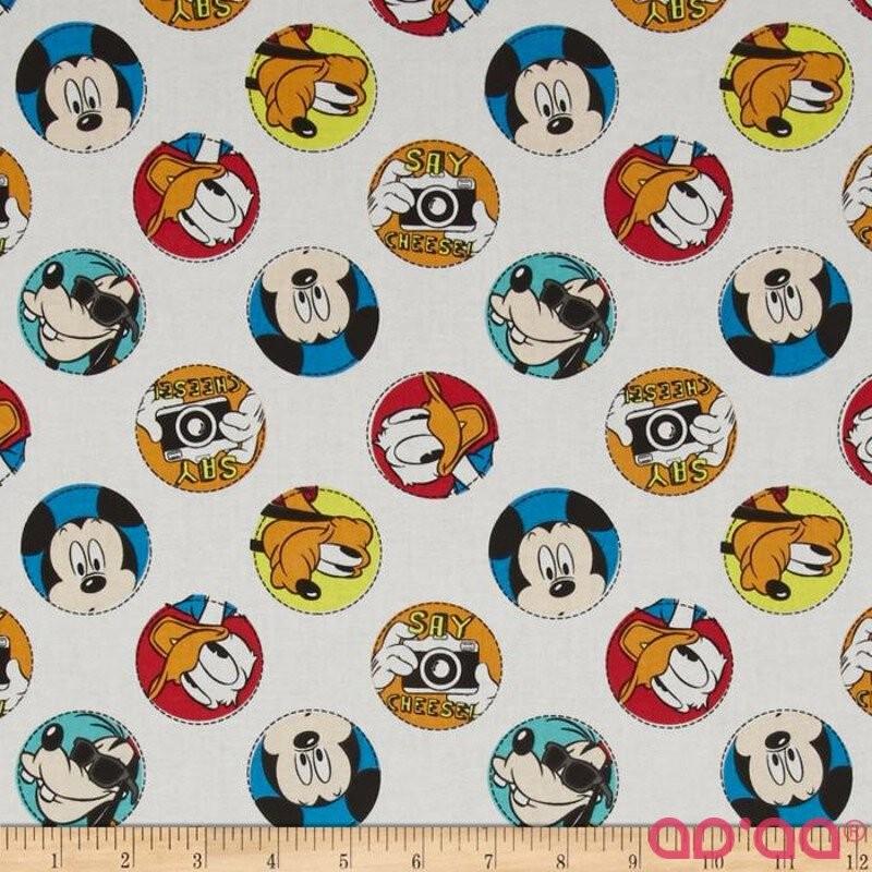 Disney Mickey Say Cheese Character Badge White