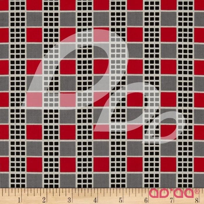 Tecido de Algodão com Quadrados Xadrez Vermelho, Cinzento e Preto