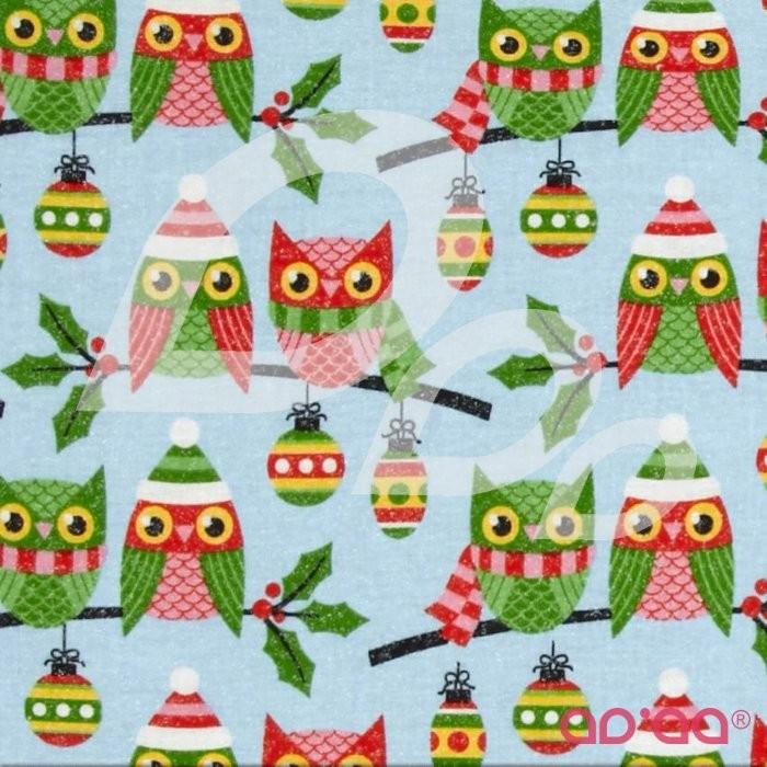 Seasons Greetings Owls Blue