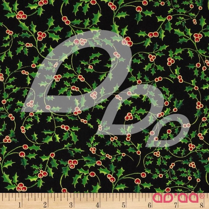 Christmas Carols Metallic Small Holly Black