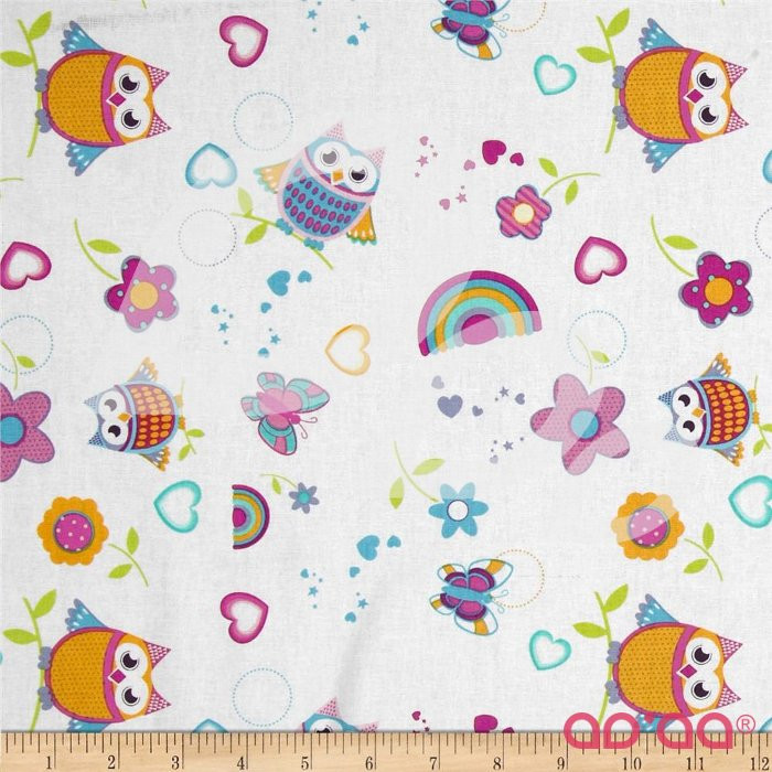 Tossed Owls & Butterflies White/Bright