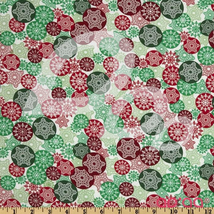 Merry Christmas Snowflakes Red/Green