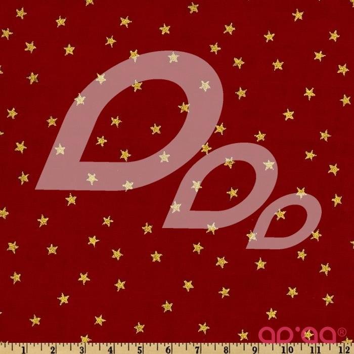 Tecido de Algodão com Estrelas Metálicas Douradas em Fundo Vermelho