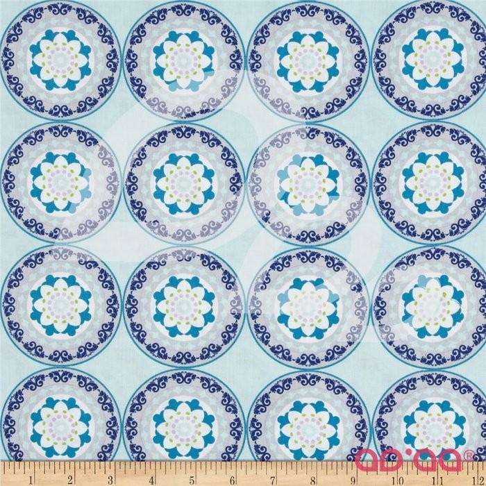 Silk Road Decorative Circles Aqua/Multi