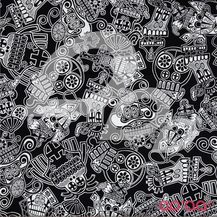 Mi Familia Tossed Sugar Skulls Black/White