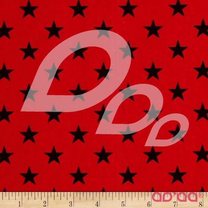 Tecido de Algodão com Estrelas Pretas em Fundo Vermelho