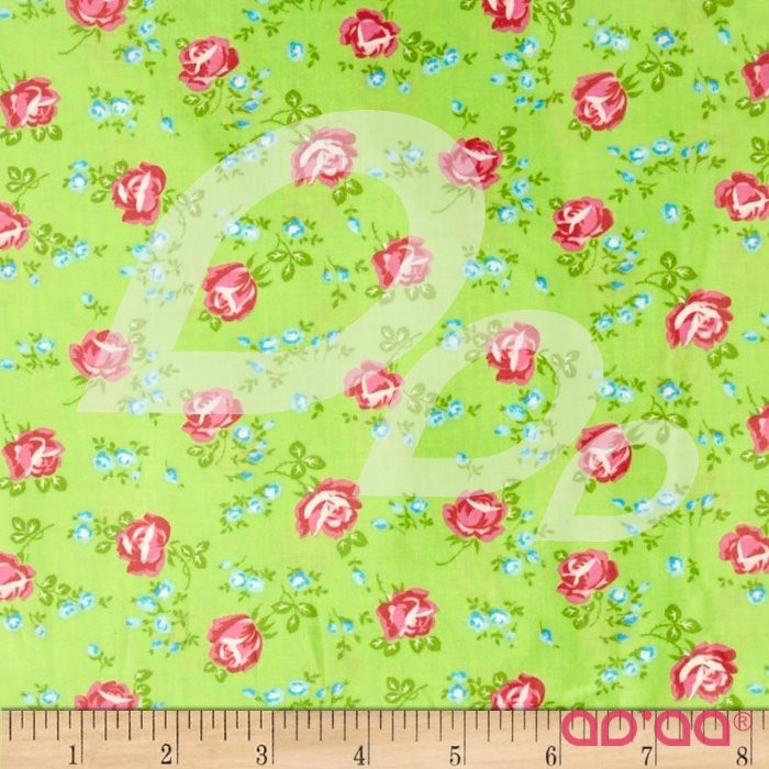 Sugar Hill Laminated Cotton Scattered Roses Green