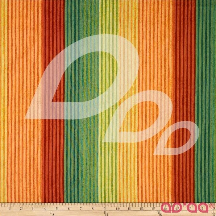Tecido de Algodão com Riscas Vermelhas, Verdes, Laranja e Amarelas