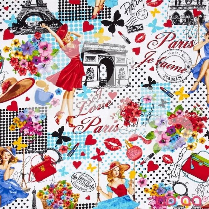 Timeless Treasures Ooh La La Paris Collage White