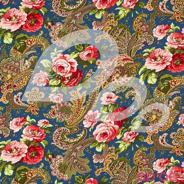 Verna Mosquera Indigo Rose Rose Paisley Midni