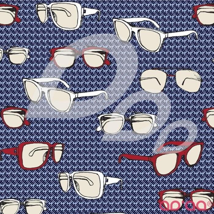 Riley Blake Speedster Sporty Glasses Blue