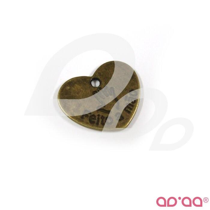 Chapas metálicas - coração grande bronze 22 mm