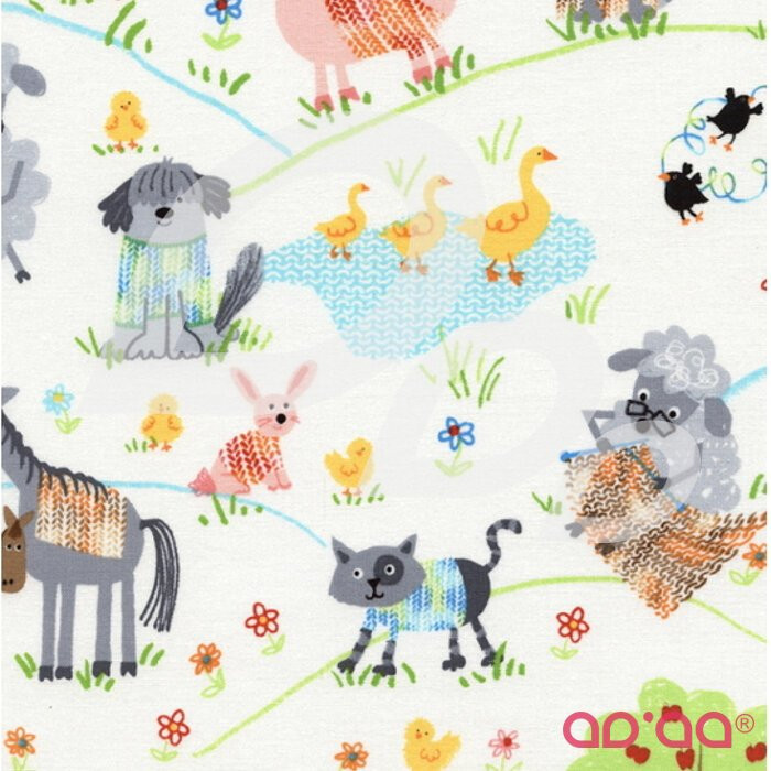 Tecido de Algodão com Ovelhas a Fazer Tricô para Cães, Patos, Gatos, Coelhos, Cavalos e Porcos