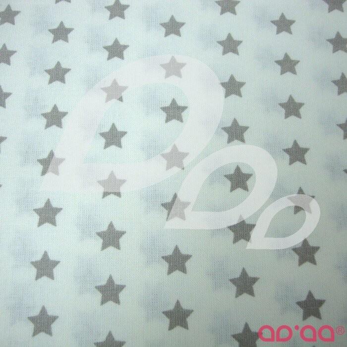 o de Algodão com Estrelas Cinzento e Fundo Branco