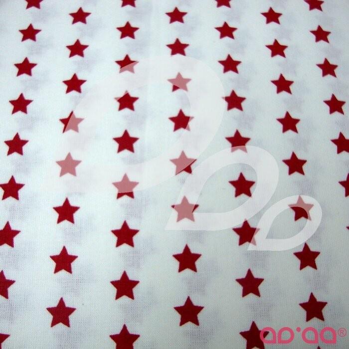 Tecido de Algodão com Estrelas Vermelhas e Fundo Branco