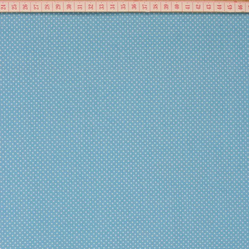 Tecido Cambraia com Pintinhas Brancas em Fundo Azul Turquesa