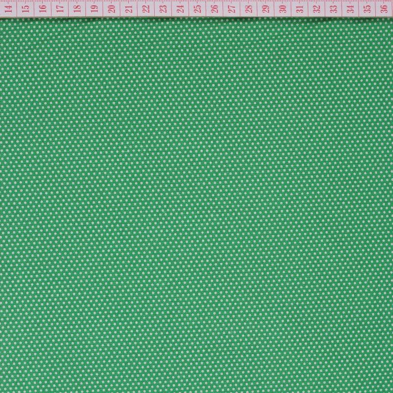Tecido Cambraia com Pintinhas Brancas em Fundo Verde