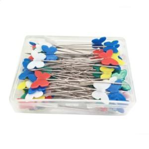 Caixa de Alfinetes Patchwork Borboletas com 100 alfinetes
