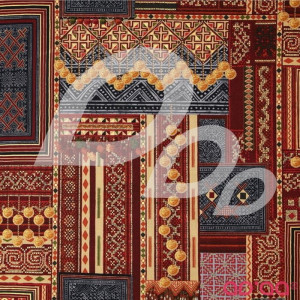 Mandalay Metallic Woven Patchwork Cayenne/Gold