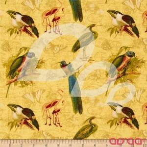 Tecido de Algodão com Papagaios, Flamingos, Pelicanos em Fundo Amarelo