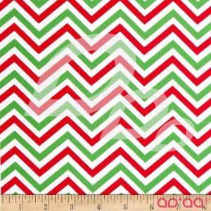Tecido de Algodão Chevron Zigzag em Verde e Vermelho com Fundo Creme