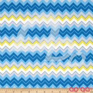 Tecido de Algodão Chevron Zigzag em Azul, Amarelo e Branco