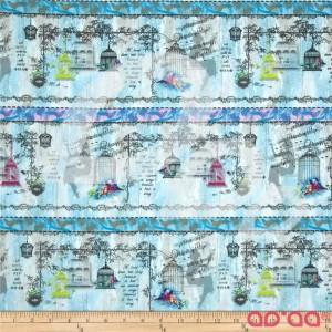 Tecido de Algodão com Música, Pássaros e Gaiolas em Fundo Azul Claro