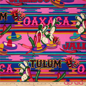 Folklorico Tulum Hats, Peppers, Cactus Hot Pink