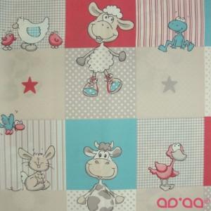 Tecido com Ovelhas, Patos, Vacas, Coelhos, Galinhas, Pássaros, Estrelas, Xadrez e Pintas Em Azul, Vermelho e Cinzento