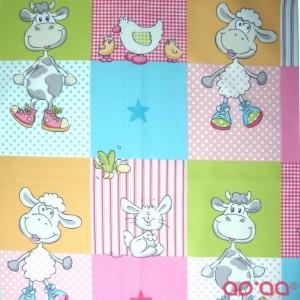 Tecido com Ovelhas, Patos, Vacas, Coelhos, Galinhas, Pássaros, Estrelas, Xadrez, Riscas e Pintas Em Azul, Rosa, Verde, Laranja e Cinzento