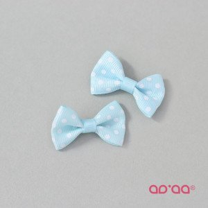 Laço Azul Claro Pintas Branco 3,5cm