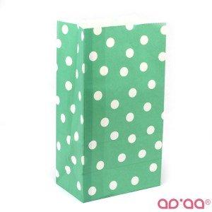 Saco Papel Verde Bolas Brancas