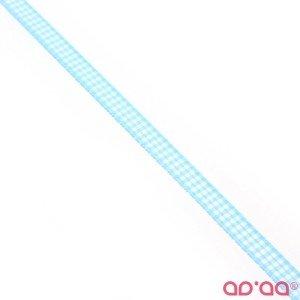 Fita Xadrez Azul Turquesa e Branco 1cm