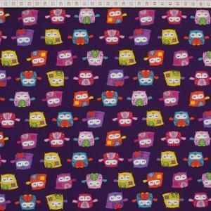 Tecido de Algodão com Mochos de Diversas Cores em Fundo Violeta Roxo