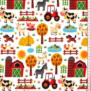 Tecido de Algodão Com Animais na Quinta, Vacas, Porcos, Cavalos, Ovelhas, Cabras, Celeiros, Tratores, Vegetais e Árvores