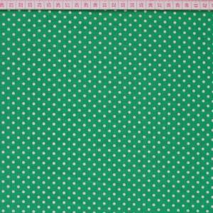 Tecido Cambraia com Pintas Brancas em Fundo Verde
