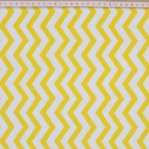 Tecido Cambraia Chevron Zigzag Amarelo e Branco